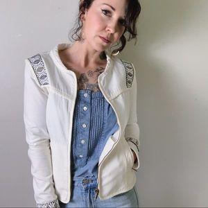 NWOT ZARA TRAFALUC Embroidered White Zip Up Jacket